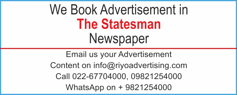 Newspaper advertisement sample for The Statesman
