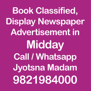 Midday newspaper ad Rates for 2018-19