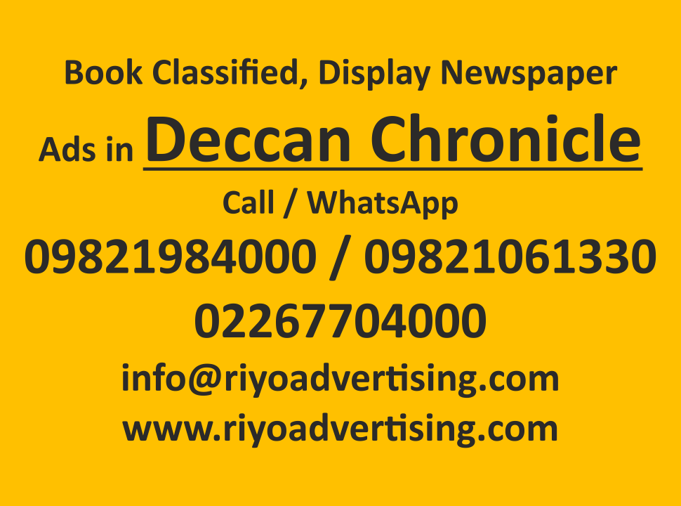 Deccan Chronicle ads in local and national newspapers